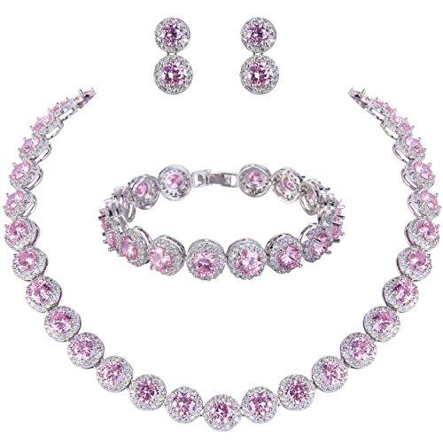 EVER FAITH Women's Round Cubic Zirconia Wedding Necklace Bracelet Pierced Earrings Set Pink Silver-Tone