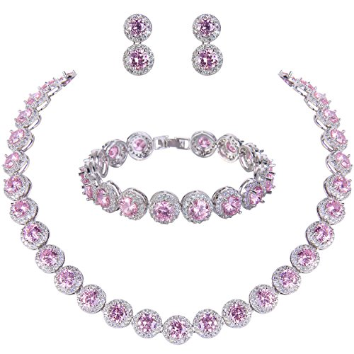 EVER FAITH Women's Round Cubic Zirconia Wedding Necklace Bracelet Pierced Earrings Set Pink Silver-Tone