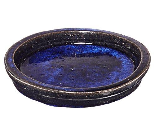 Dehner Blumentopf-Untersetzer Dang, Ø ca. 31 cm, Höhe ca. 4 cm, Keramik, glasiert, dunkelblau