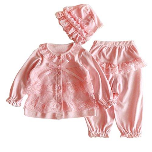 Bekleidung Longra Bekleidung Longra Säugling neugeborenes Mädchen Kleidung Lace Cardigan + Lange Hosen + Mütze Hut Set Outfit Baby Kleidung(0-12Monate) (50CM 0-3Monate, Pink)