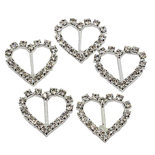Lkeran 35pc 21mm heart Shaped silver crystal clear rhinestones buckle flatback shiny silver buckles invitation card wedding ribbon slider DIY gift box crafts Hair Accessories Christmas Buckles