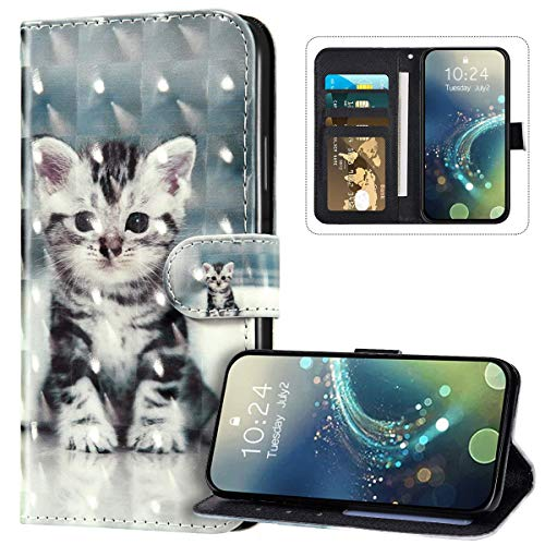 JAWSEU Wallet Case Compatible with Galaxy A70, PU Leather Flip Case 3D Cute Pattern Design Front and Back Cover Magnetic Closure Kickstand Card Slots Wrist Strap Protective Case,Cat