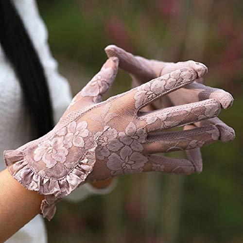 Mode Sexy Spitze Touchscreen Handschuhe Sommer Sonnenschutz Damen Anti UV Fahren Anti Skid Radfahren Spitze Lotus Leaf Handschuhe-Purple