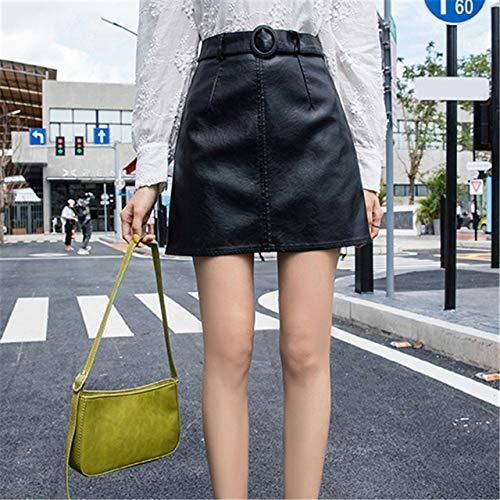 MIBKLPG Mode Frauen Leder Rock Paket Hüften Damen Hohe Taille Röcke Lässig Minirock L Schwarz