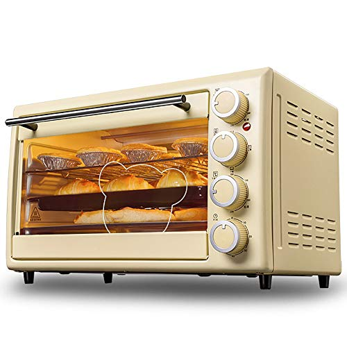 Manual Stand-Alone Electric Oven, 30L Large Capacity Multifunctional Pizza Oven, Simple Operation of The Knob, 60 Minutes Timing, Stainless Steel Anti-Hot Handle,Durable Toughened Glass