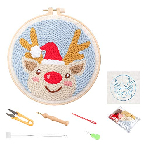 Designs Embroidery Kits, Beginner Punch Needle Kit with an Embroidery Pen and Hoop, DIY Rug Hooking Set for Kids- Christmas Pattern, Indoor Decorations