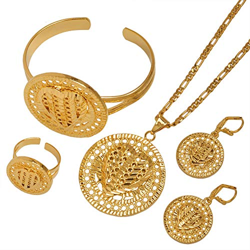 NCDFH Arab African Ethiopian Gold Farbe Halsketten Ohrringe Ring Armreif Herz Dubai Schmuck setzt Hochzeit Braut Mitgift # J0946 Größe 60 cm x 3 mm Kette