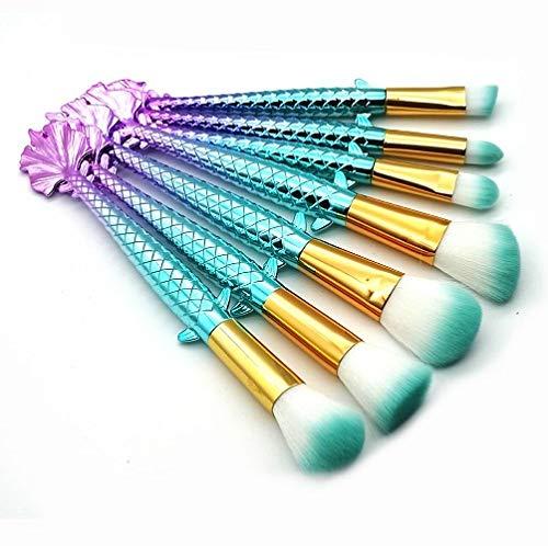 MEIMEIDA Base de maquillage queue de poisson poudre poudre fard à paupières maquillage maquillage brosses contour mélange pinceaux cosmétiques, 7pcs