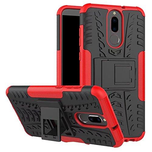 Huawei Mate 10 Lite Hülle, GOGME Rugged TPU / PC Hybrid Armor Schutzhülle. Anti-Scratch PC Rückwand Schale + Stoßfeste TPU Innenschutzabdeckung + Faltbarer Halterungen, Rot
