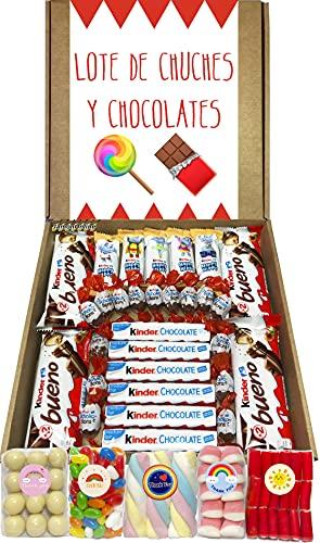 Lote Chocolates Kinder y Chuches Especial Regalo. La Caja Contiene 30 Chocolates Kinder y 5 Bolsas de Chuches de Cumpleaños. Kinder Bueno, Kinder Maxi, Kinder Schoko-Bons, Kinder Happy Hippo.