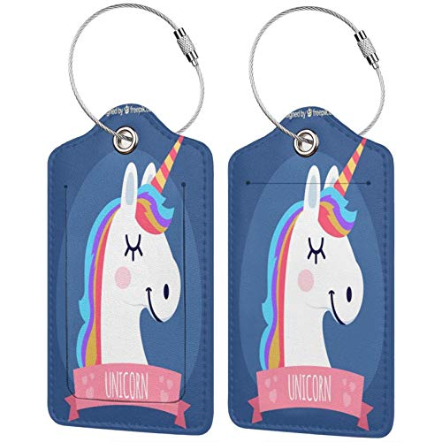 Cute Pink Unicorn Luggage Tags Leather Travel Suitcases Id Identifier Baggage Label Card Holder.