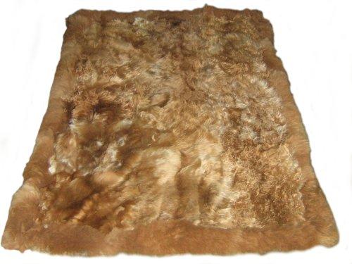 Alpacaandmore Brauner peruanischer langhaar Teppich Babyalpaka Fellteppich (300 x 200 cm)