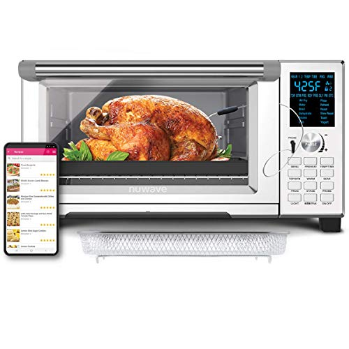 NuWave Bravo XL 30-Quart Convection Oven with Probe; 12 presets; 5-Quartz heating elements; 100F-450F; Fits 10 lb chicken; 13 in pizza; Air-fry, Broil, Bake, Roast, Grill, Toast; Dehydrate, Warm
