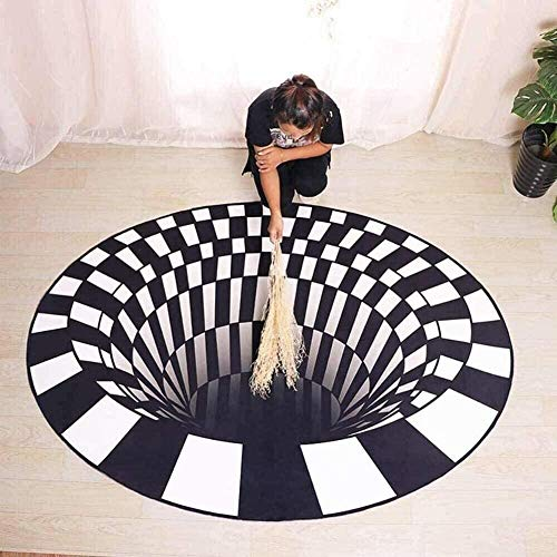 2020 New Black White Grid Carpet 3D Waterproof Vortex Illusion Rug Floor Pad Non-slip Doormat Mats for Kitchen Floor Hallway Living Room Changing Car Bathroom Table Bedroom Large ( Size : 150*150cm )