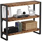 IRONCK Industrial Bookshelf and Bookcase 3 Tier, Wood and Metal Bookshelves Storage Shelves for Home Office, Sturdy Easy Assembly, Rustic Brown