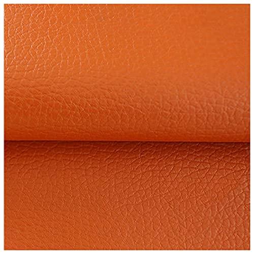 Cuero Artificial Parches para Sofa Naranja Banco Comedor Tapizado Tela de Polipiel 100x138cm Patrón de Lichi PU Cuero Asientos para Muebles Chaquetas Sofás(Size:1.38 * 2m,Color:Naranja)