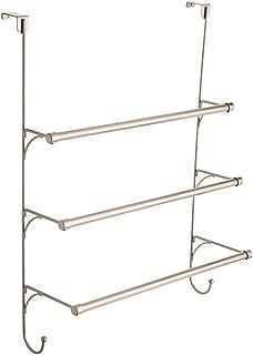 Franklin Brass 193153-FN Over the Door Triple Towel Rack with Hooks, Satin Nickel