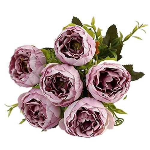 chunqi Fiori Artificiali, Bouquet di Tulipani Finti in Seta, realistici al Tocco, per Matrimoni o Decorazione della casa, del Giardino, per Feste Bianco 10PC