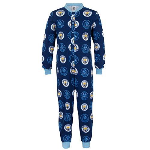 Manchester City FC - Pijama de una Pieza para niños - Producto Oficial - Azul Marino Escudo Redondo - 5-6 años