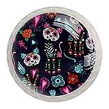Pomos para gabinetes de cocina Tirador de cajón Tirador de cristal de gabinete de cajón Tiradores de pomos púrpura gato México Helloween paquete de 4