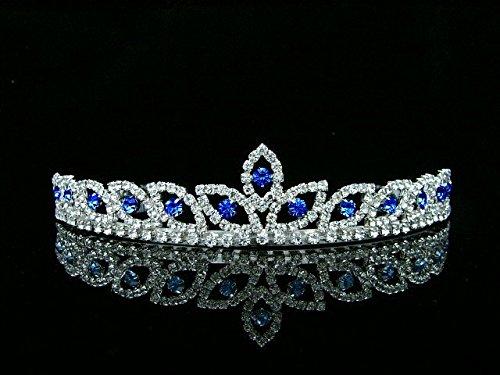 Peacock Eye Bridal Wedding Prom Tiara Crown - Blue crystal silver plated T421
