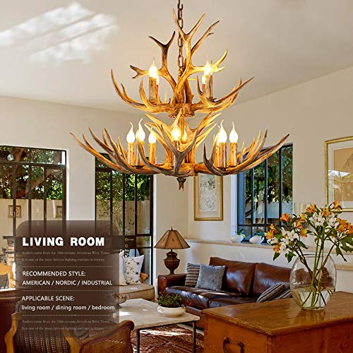 Selmaal Hars hertshoorn kroonluchter, landelijke antler plafond 8 + 4 licht, hars kroonluchter Amerikaanse landschapsstijl hangende verlichting voor woonkamer, bar, eenvoudig te monteren