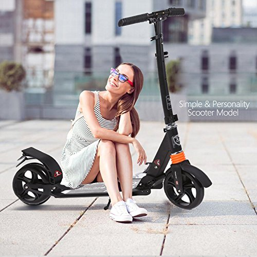 kids/Adult Scooter with 3 Seconds Easy-Folding System, 220lb Folding Adjustable Scooter with Disc Brake and 200mm Large Wheels (Black)