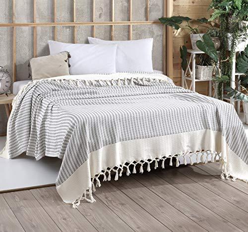 Belle Living Vina Tagesdecke Überwurf Decke - Wohndecke hochwertig - ideal für Bett und Sofa, 100% Baumwolle - handgefertigte Fransen, 200x250cm (Grau)