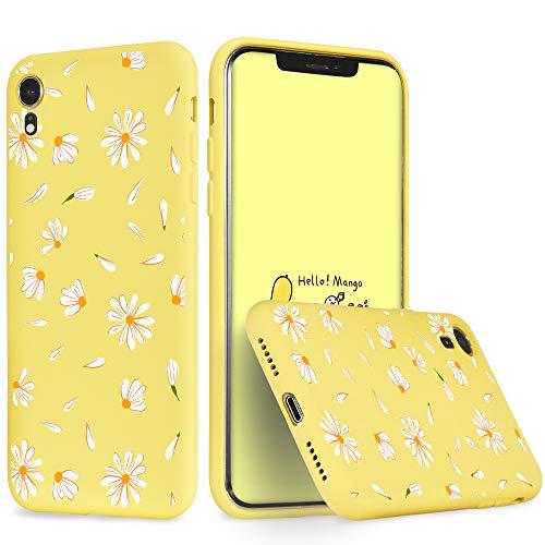 idocolors Cover per iPhone 6 / 6S Margherita Giallo Silicone Liquido Morbido Custodia con Fodera Tessile Microfibra Antiurto Bumper Protettiva Case