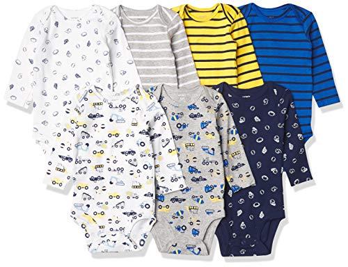 Carter's Baby Boys' 7-Pack Long-Sleeve Bodysuits, Construction/Sports, Preemie