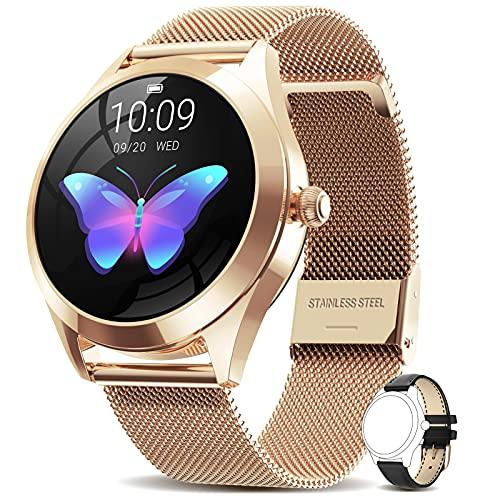 AIMIUVEI Smartwatch Donna, Orologio Fitness Donna Impermeabile IP68, Smart Watch con Interfaccia Dinamica 2 Cinturini, Contapassi Cardiofrequenzimetro Notifiche Messaggi per Android iOS (Oro)