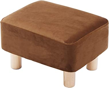 Footrest Footrest Footrest Ottoman Pouf Rectangular upholstered Chair with Beech Wood Legs and Removable Velvet Cover (Brown)