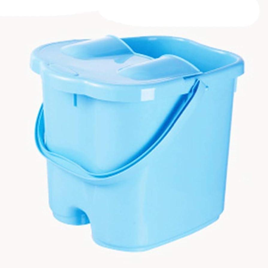 借りるトレッド嘆願ポータブルマッサージ浴槽足湯バケツ付きふた保温足洗面台大人の高まるバレル Dsfq8 XM1209-9-3-10 (Color : Blue (with lid), Size : Heiaht 23cm)