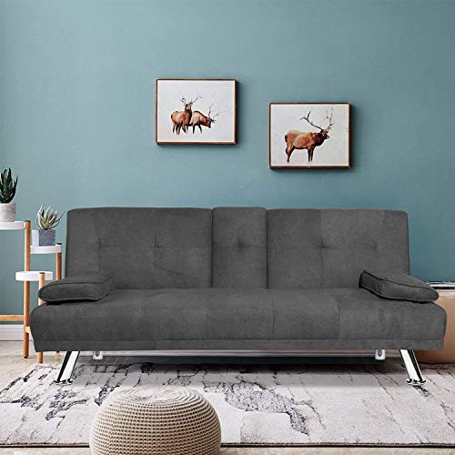 LinkRomat Modern Folding Futon Sofa Living Room w/Metal Legs and 2 Cup Holders Quickly Converts into a Bed for Small Spaces, Dark Gray