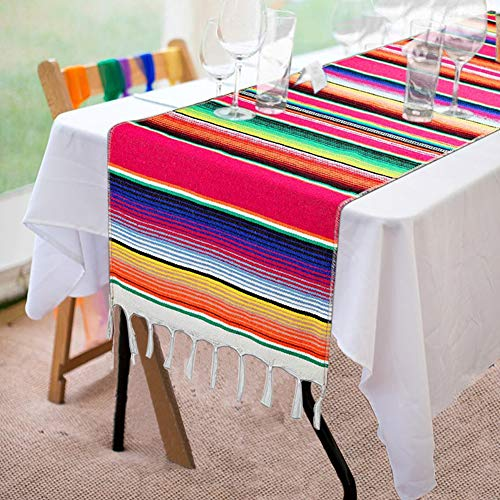 Fowecelt Mexican Serape Table Runner 14 x 84 Inch for Mexican Party Wedding Decorations Outdoor Picnics Dining Table, Fringe Cotton Handwoven Table Runners