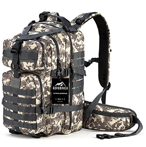 RUPUMPACK Military Tactical Backpack Hydration Backpack, Army MOLLE Bug Out Bag, Small 3-Day Rucksack for Outdoor Hiking Camping Trekking Hunting School Daypack, 33L (Camouflage)