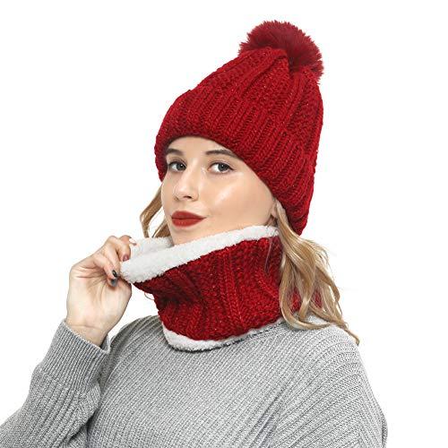 Vanansa Mütze Schal Set Damen, Winter Kombi Set aus Loop Schal Damen und Strickmütze 3 Farben Loop Schal Set für Frauen Mädchen, Weinrot