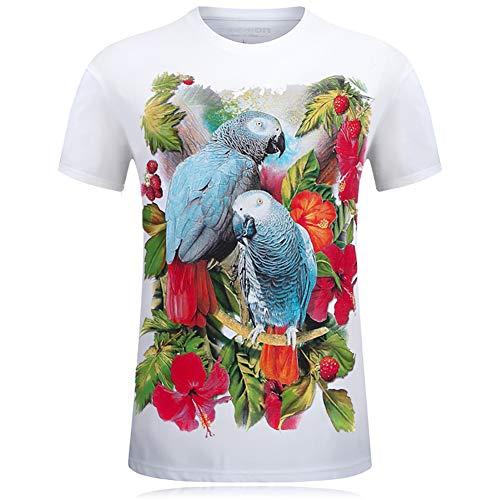 Camiseta para Hombre 3D Manga Corta Primaveray Verano Personalidad Tridimensional dominante Camiseta Talla Cuello Redondoy Estampado Digital Bandera Casual Creativa Impresión Sudaderas,Blanco,M