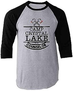 Pop Threads Camp Crystal Lake Counselor Staff Costume Raglan Baseball Tee Shirt