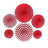 Abanicos de papel colgantes, 6 unidades de abanicos para decoración de eventos de boda, escuela, color rojo