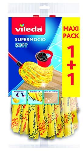 Vileda Recharges Têtes de balai à franges SuperMocio - Soft Jaune Pack 2 recharges