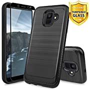 TJS Case Compatible for Samsung Galaxy A6 2018, with [Tempered Glass Screen Protector] Hybrid Shockproof Resist Drop Protection Phone Case Cover Metallic Brush Finish Hard Inner Layer