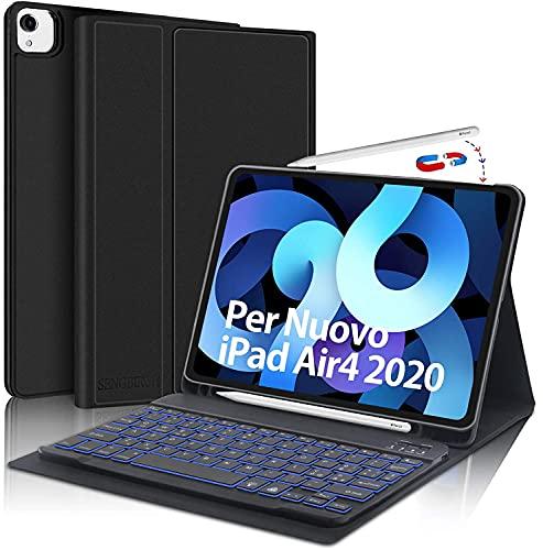 SENGBIRCH Tastiera per iPad Air 4 2020, Custodia con Tastiera Italiano per iPad 10.9 iPad PRO 11 2021 2020 2018, Keyboard Staccabile con 7 Colori Retroilluminato, Cover Auto Svegliati Sonn, Nero