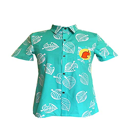 Animal Crossing Cosplay Kostüm, Tom Nook Blatt T-Shirt Isabelle Cosplay Kostüm Kurzarm Button Up Tops für Kinder Männer Frauen Mädchen Jungen