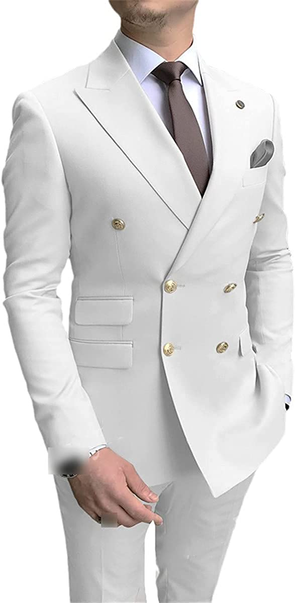 Men's Suit Double-Breasted Golden Buttons Groom Wedding Tuxedo Men's 2-Piece Suit