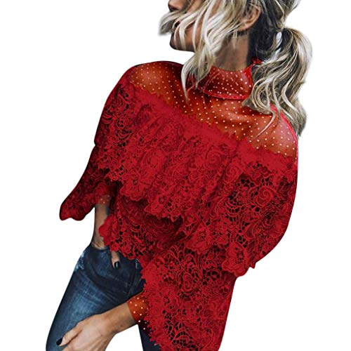 Linkay T Shirt Damen Kurz Schlaghülse Bluse Tops Gedruckter Punkt Oberteile Mode 2019 (Rot, Medium)