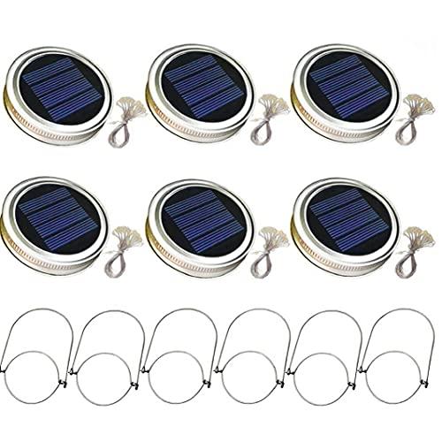 fregthf Solare Mason Jar Coperchio Luce con 2m luci della Stringa Maniglia 20 LED Lanterna Lampada a Sospensione per la Decorazione del Giardino Luminoso Caldo 6PCS