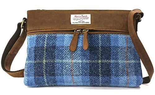 Lederhandtasche mit Blauem Tartan Harris Tweed