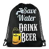 QUEMIN Save Water Drink Beer - Mochila Unisex con cordón, Bolsa de poliéster con cincha, Bolsa Deportiva para Gimnasio, Mochila Informal para Mujeres, 14,2 x 16,9 Pulgadas / 36 x 43 cm