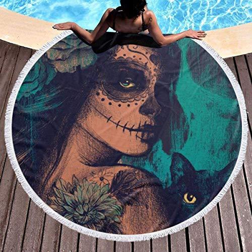 Rundes Strandtuch, Scary und Cat Hippie Happy Youth Handtuch Extra große sandfeste Decke Yogamatte mit Quasten 59 '